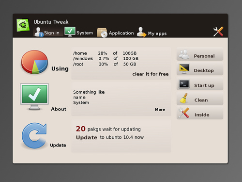 Ubuntu Tweak 0.6 Mockup