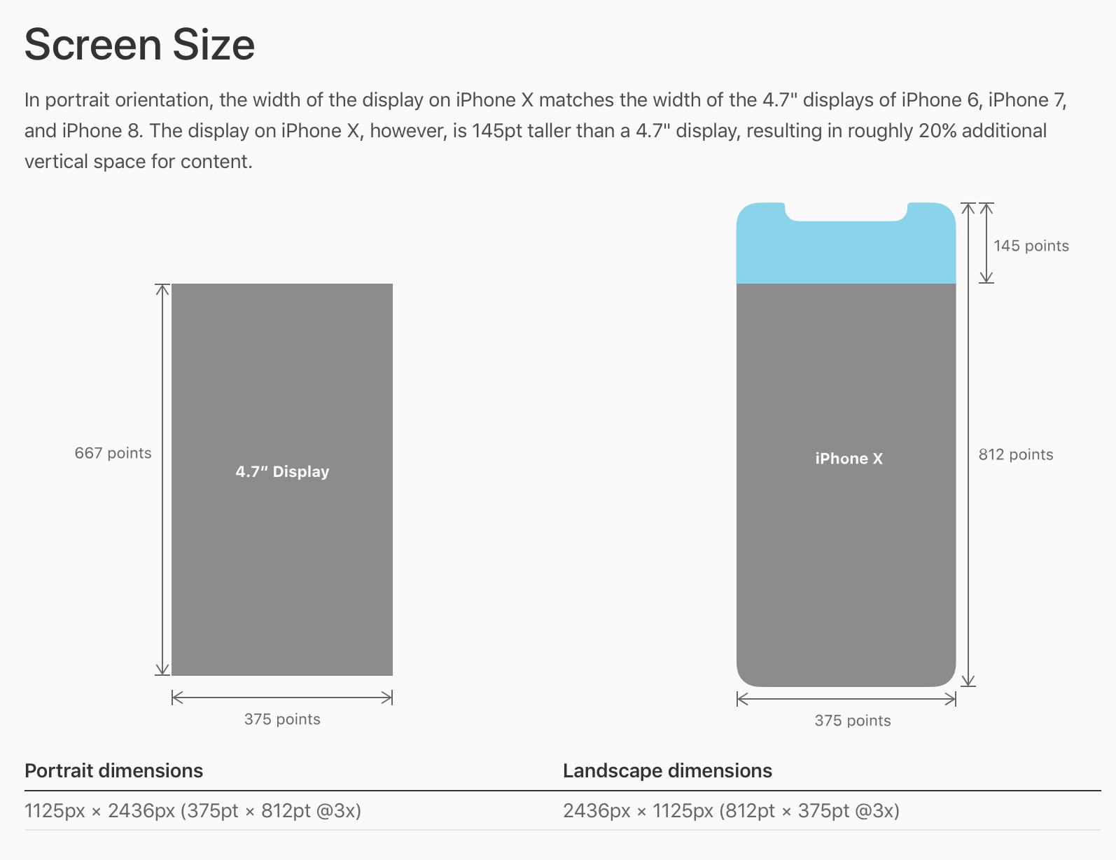 iPhone X Screen size