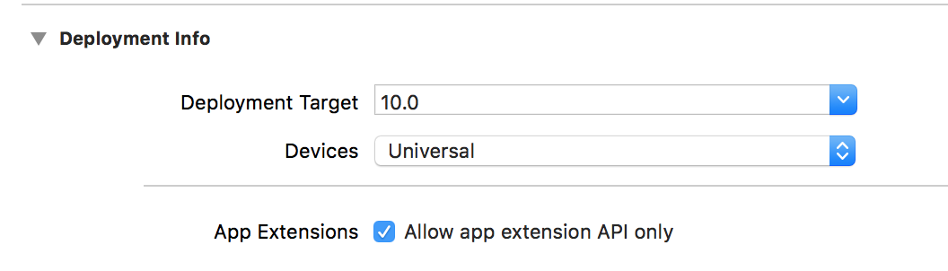 iOS Extension not safe API 3